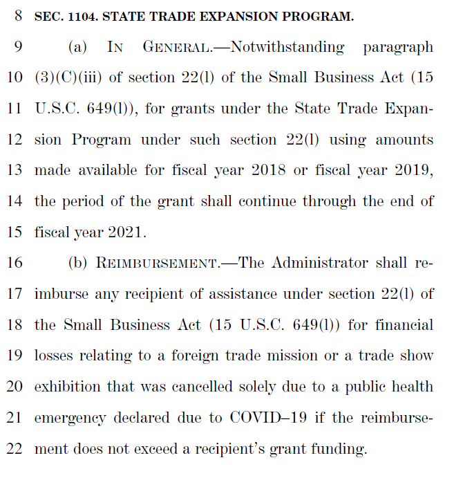 CARES Act Info Regarding Cancellation of Trade Shows and Trade Missions